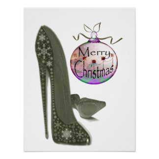 Christmas Stiletto Shoe and Bauble Art Poster