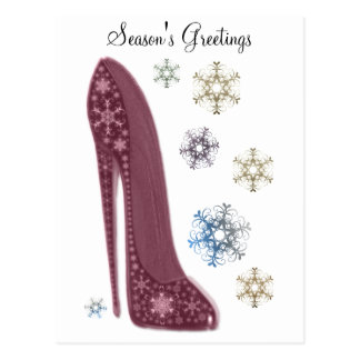 Christmas Stiletto Shoes and Snowflakes Art Postcards