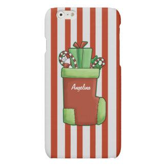 Christmas Stocking Candy Cane Stripe Custom Name iPhone 6 Plus Case