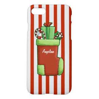 Christmas Stocking Candy Cane Stripe Custom Name iPhone 7 Case