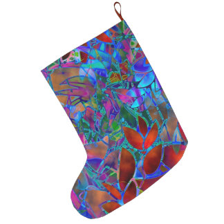 Christmas Stocking Floral Abstract Stained Glass