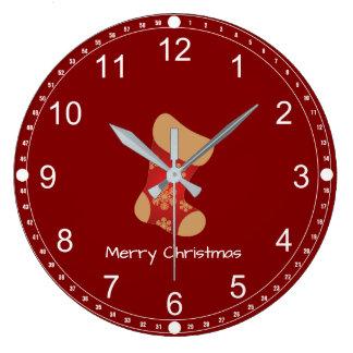 Christmas Stocking  Merry Christmas Large Clock