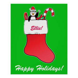 Christmas Stocking Name Customizable with Penguin Print