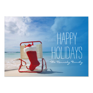 Christmas stocking on a beach chair card