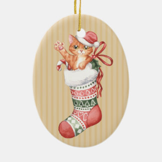 Christmas Stocking Series: Ginger Kitten Christmas Ornament
