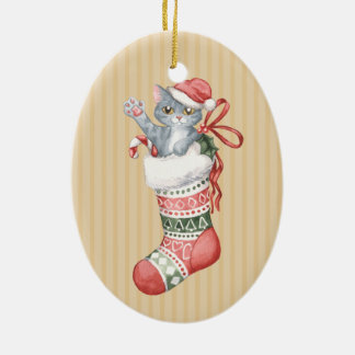 Christmas Stocking Series: Grey Kitten Christmas Ornament