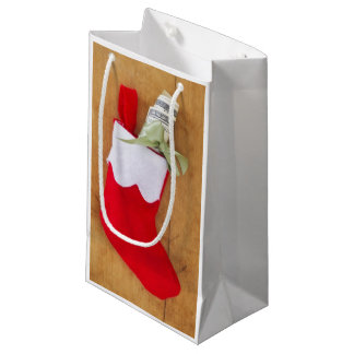 Christmas stocking with roll of money small gift bag