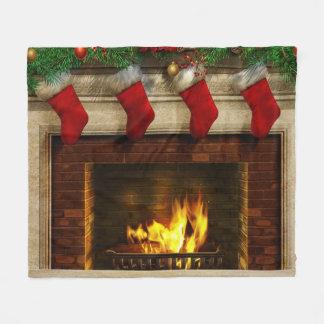 Christmas Stockings and Fireplace Fleece Blanket