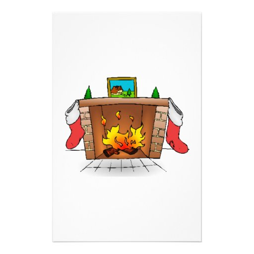 Christmas Stockings Hanging Over Fireplace Stationery
