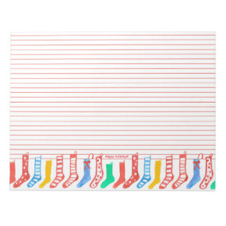 Christmas Stockings Happy Holidays Lined Notepad