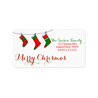 Christmas stockings Merry Christmas  address label