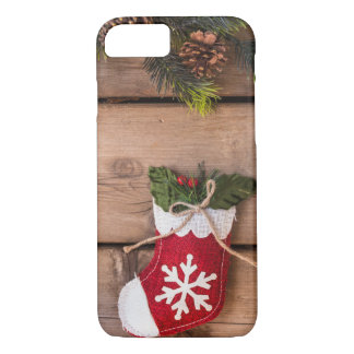 Christmas Stockings Merry Christmas Wooden Texture iPhone 8/7 Case
