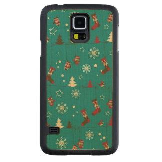 Christmas stockings pattern carved maple galaxy s5 case