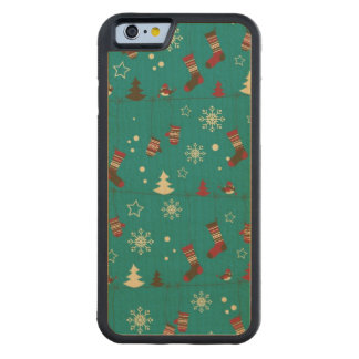 Christmas stockings pattern carved maple iPhone 6 bumper case
