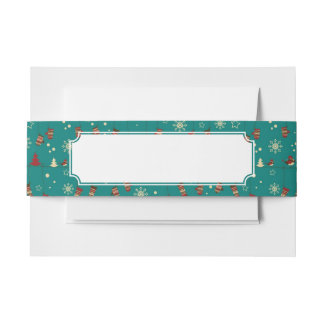 Christmas stockings pattern invitation belly band