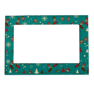 Christmas stockings pattern photo frame magnet