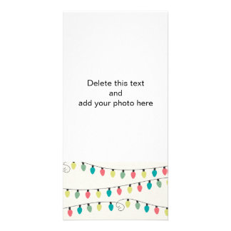 Christmas String of Lights Pattern Photo Greeting Card