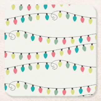Christmas String of Lights Pattern Square Paper Coaster