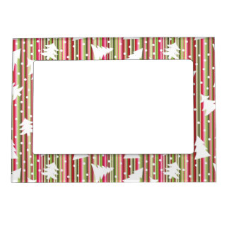 Christmas striped background with trees magnetic picture frame