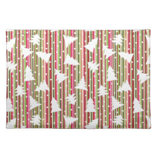 Christmas striped background with trees placemat
