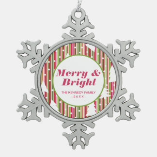 Christmas striped background with trees snowflake pewter christmas ornament