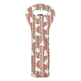Christmas striped background with trees wine bag