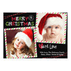 Christmas Striped Frame 2 Photo Card