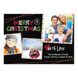 Christmas Striped Frame 3 Photo Collage Card