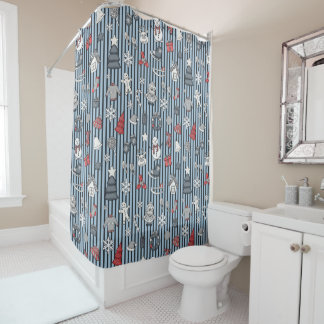 Christmas Striped Pattern Shower Curtain