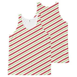 Christmas Stripes All-Over Printed Unisex Tank All-Over Print Tank Top