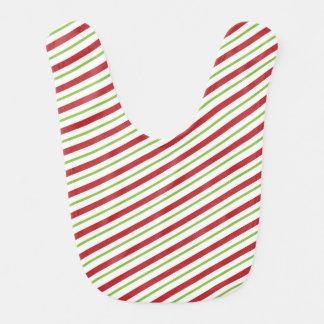 Christmas Stripes Baby Bib