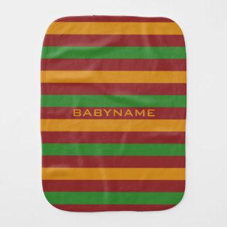 Christmas Stripes custom burp cloth