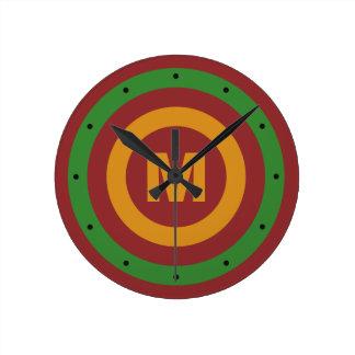 Christmas Stripes custom monogram wall clock