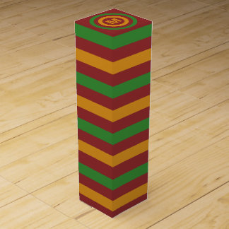 Christmas Stripes custom monogram wine gift box