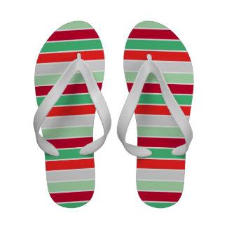 Christmas Stripes Flip Flops