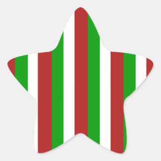 Christmas Stripes green Star Sticker