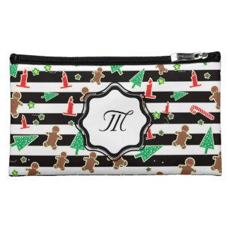 Christmas Stripes Makeup Bag