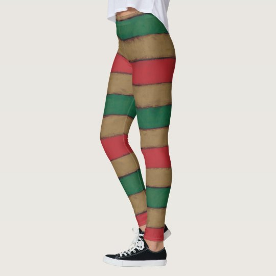 Christmas Stripes Red, Green and Brown Leggings