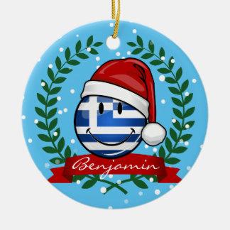 Christmas Style Greek Flag Christmas Ornament