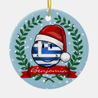Christmas Style Greek Flag Christmas Ornament