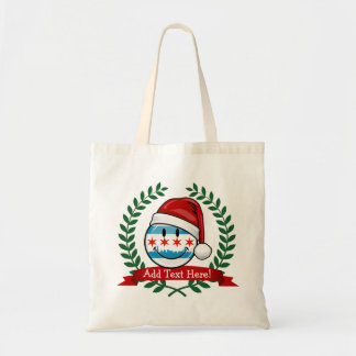 Christmas Style Smiling Chicago Flag Budget Tote Bag