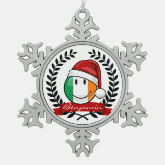 Christmas Style Smiling Irish Flag Snowflake Pewter Christmas Ornament