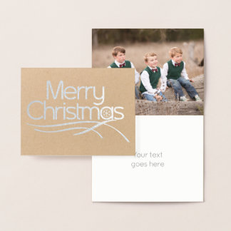 Christmas stylized script snowflake photo silver foil card