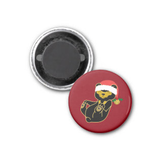 Christmas Sun Bear with Santa Hat & Jingle Bell 3 Cm Round Magnet