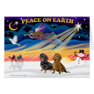 Christmas Sunrise - 2 Dachshunds (Black + Brown) Greeting Card
