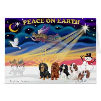 Christmas Sunrise - Cavalier Kings Charles (five) Greeting Card