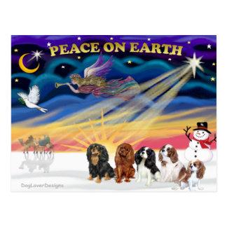 Christmas Sunrise - Cavalier Kings Charles (five) Postcard