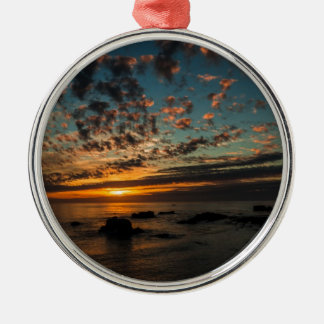 Christmas Sunset Silver-Colored Round Decoration