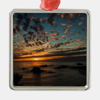 Christmas Sunset Silver-Colored Square Decoration