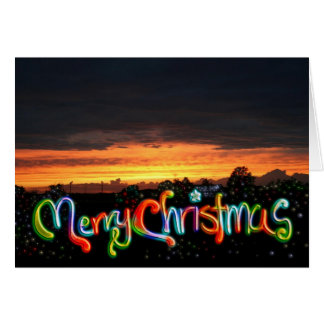 Christmas Sunset Sparkle Note Card